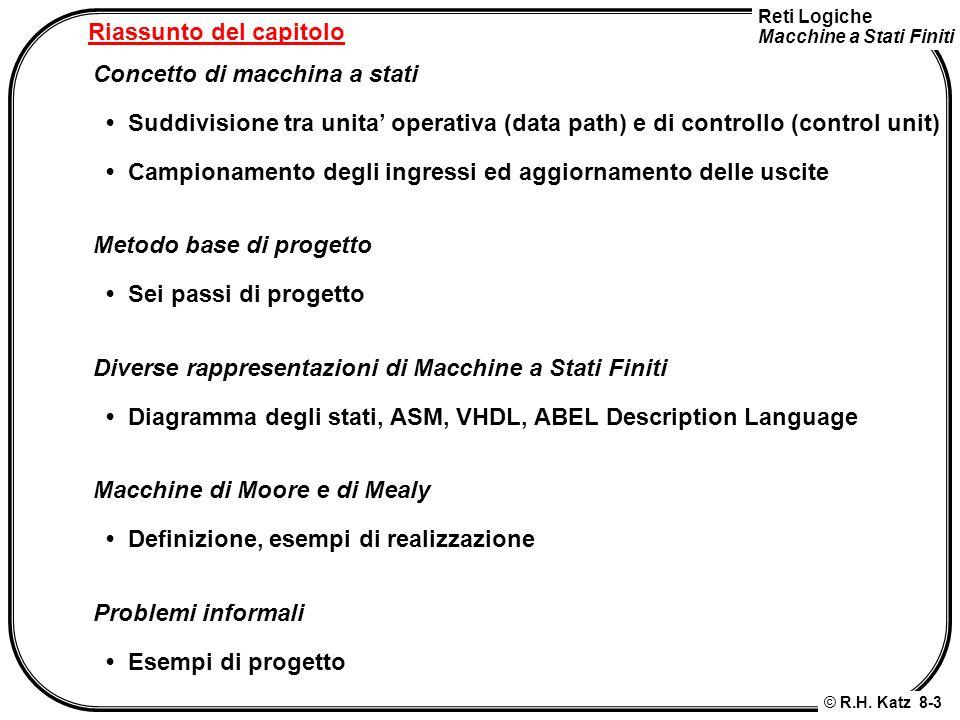 Reti Logiche Macchine a Stati Finiti © R.H. Katz 8-3 Riassunto del capitolo Concetto di macchina a stati Suddivisione tra unita operativa (data path)
