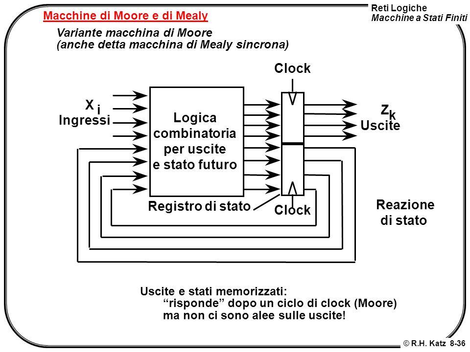 Reti Logiche Macchine a Stati Finiti © R.H. Katz 8-36 Macchine di Moore e di Mealy Variante macchina di Moore (anche detta macchina di Mealy sincrona)