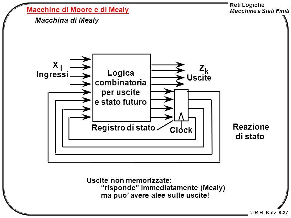 Reti Logiche Macchine a Stati Finiti © R.H. Katz 8-37 Macchine di Moore e di Mealy Macchina di Mealy Uscite non memorizzate: risponde immediatamente (