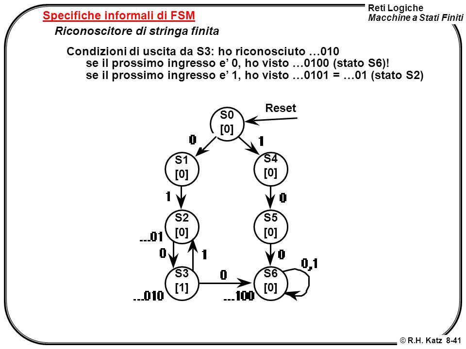 Reti Logiche Macchine a Stati Finiti © R.H. Katz 8-41 Specifiche informali di FSM Riconoscitore di stringa finita Condizioni di uscita da S3: ho ricon