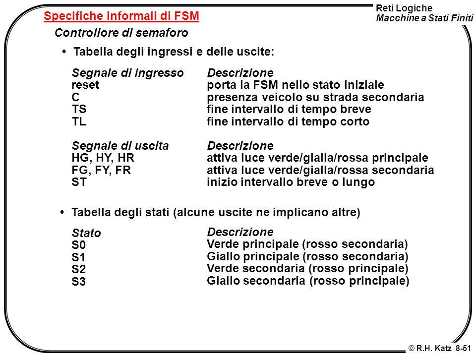 Reti Logiche Macchine a Stati Finiti © R.H. Katz 8-51 Specifiche informali di FSM Controllore di semaforo Tabella degli ingressi e delle uscite: Segna