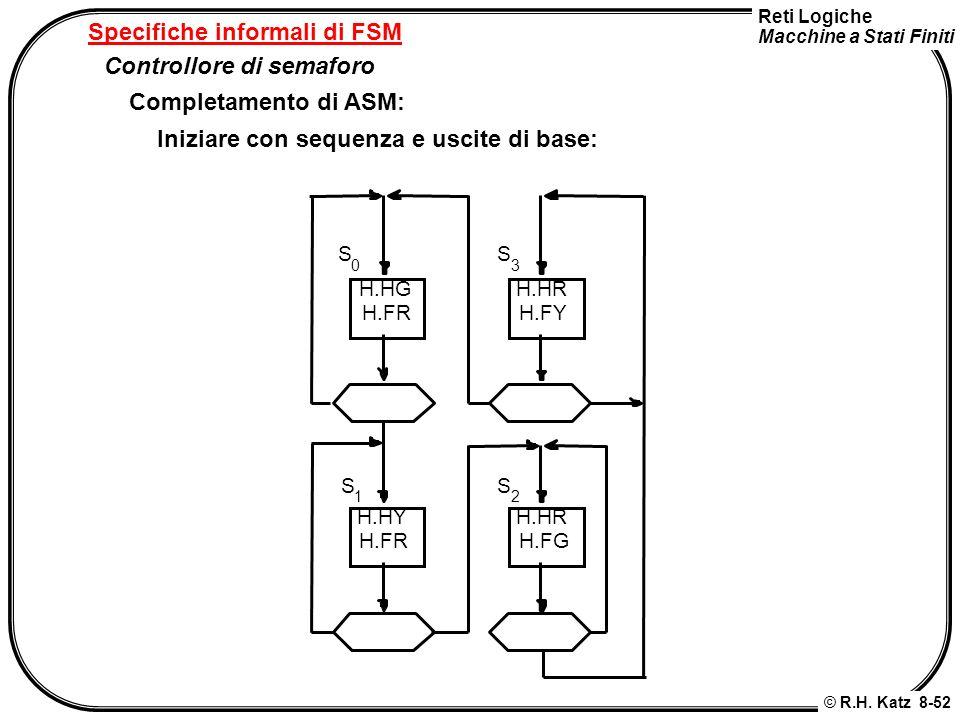Reti Logiche Macchine a Stati Finiti © R.H. Katz 8-52 Specifiche informali di FSM Controllore di semaforo Completamento di ASM: Iniziare con sequenza