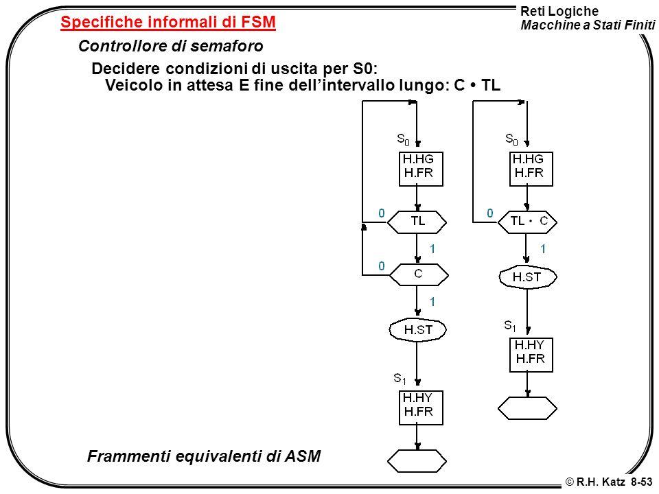 Reti Logiche Macchine a Stati Finiti © R.H. Katz 8-53 Specifiche informali di FSM Controllore di semaforo Decidere condizioni di uscita per S0: Veicol