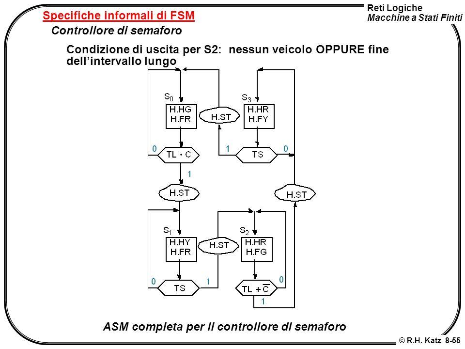 Reti Logiche Macchine a Stati Finiti © R.H. Katz 8-55 Specifiche informali di FSM Controllore di semaforo Condizione di uscita per S2: nessun veicolo