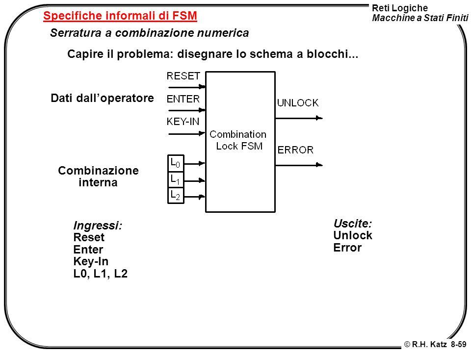 Reti Logiche Macchine a Stati Finiti © R.H. Katz 8-59 Specifiche informali di FSM Serratura a combinazione numerica Capire il problema: disegnare lo s