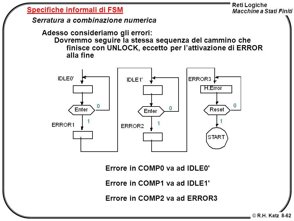 Reti Logiche Macchine a Stati Finiti © R.H. Katz 8-62 Specifiche informali di FSM Serratura a combinazione numerica Adesso consideriamo gli errori: Do