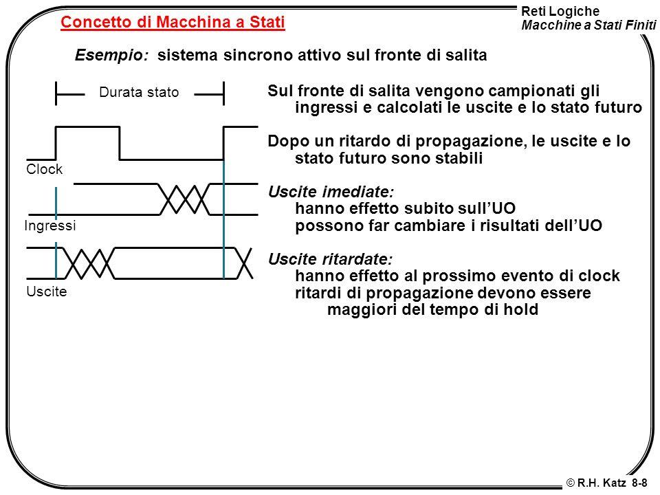 Reti Logiche Macchine a Stati Finiti © R.H. Katz 8-8 Concetto di Macchina a Stati Esempio: sistema sincrono attivo sul fronte di salita Sul fronte di