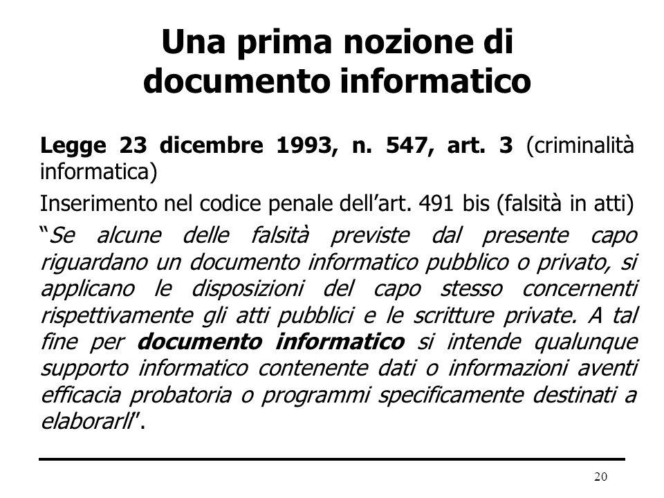 20 Una prima nozione di documento informatico Legge 23 dicembre 1993, n. 547, art. 3 (criminalità informatica) Inserimento nel codice penale dellart.