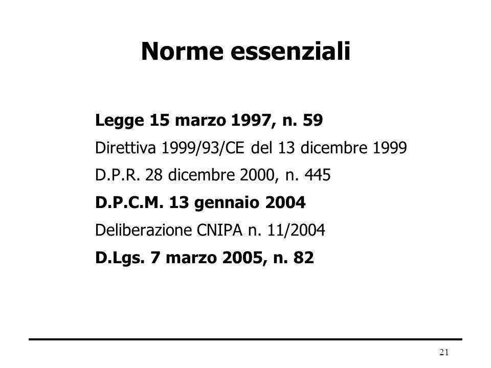 21 Norme essenziali Legge 15 marzo 1997, n. 59 Direttiva 1999/93/CE del 13 dicembre 1999 D.P.R. 28 dicembre 2000, n. 445 D.P.C.M. 13 gennaio 2004 Deli