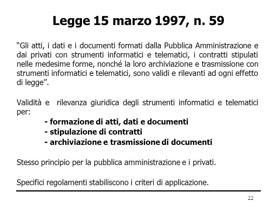 22 Legge 15 marzo 1997, n. 59 Gli atti, i dati e i documenti formati dalla Pubblica Amministrazione e dai privati con strumenti informatici e telemati