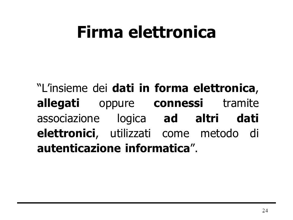 24 Firma elettronica Linsieme dei dati in forma elettronica, allegati oppure connessi tramite associazione logica ad altri dati elettronici, utilizzat