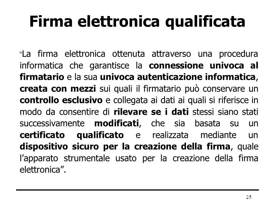 25 Firma elettronica qualificata La firma elettronica ottenuta attraverso una procedura informatica che garantisce la connessione univoca al firmatari