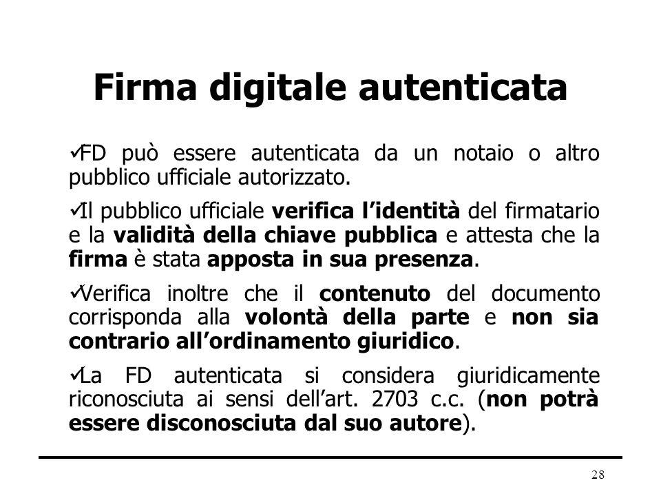 28 Firma digitale autenticata FD può essere autenticata da un notaio o altro pubblico ufficiale autorizzato. Il pubblico ufficiale verifica lidentità