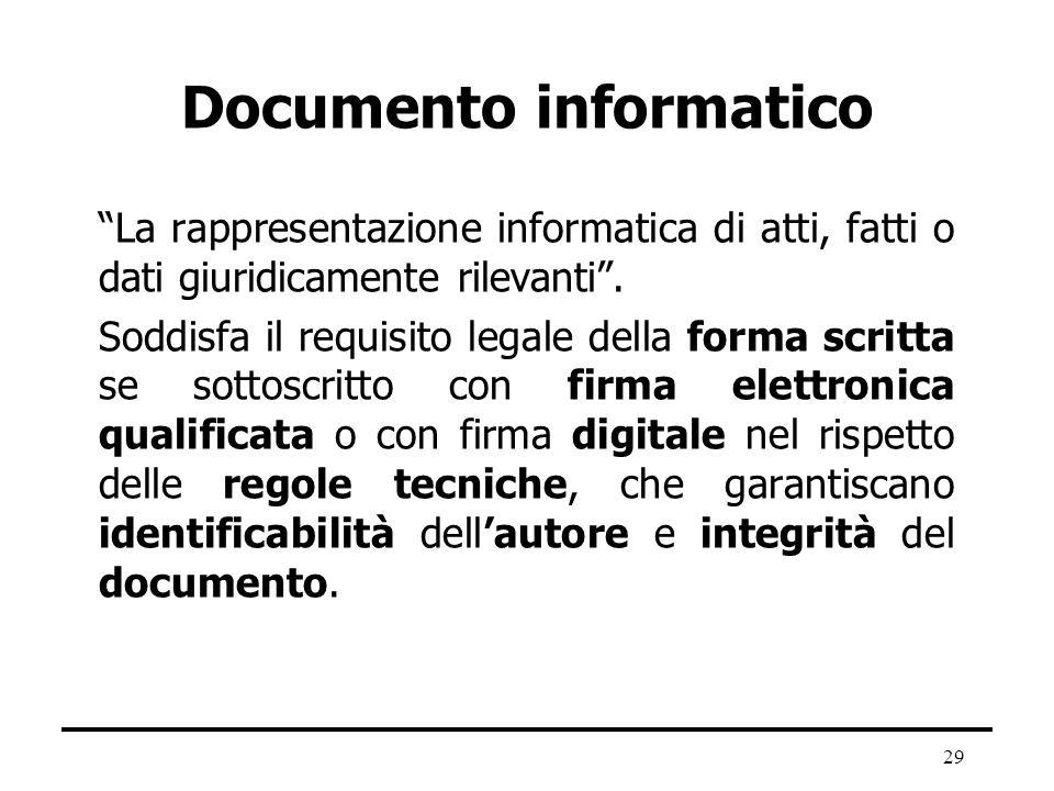 29 Documento informatico La rappresentazione informatica di atti, fatti o dati giuridicamente rilevanti. Soddisfa il requisito legale della forma scri