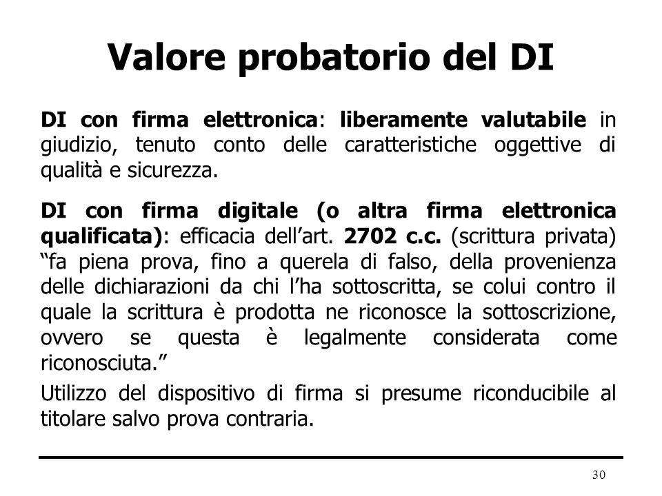 30 Valore probatorio del DI DI con firma elettronica: liberamente valutabile in giudizio, tenuto conto delle caratteristiche oggettive di qualità e si