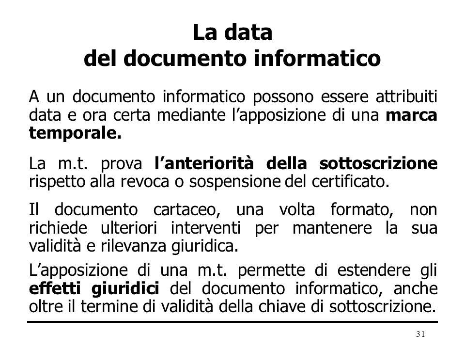 31 La data del documento informatico A un documento informatico possono essere attribuiti data e ora certa mediante lapposizione di una marca temporal
