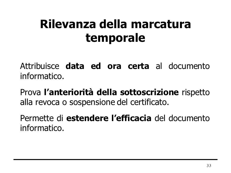 33 Rilevanza della marcatura temporale Attribuisce data ed ora certa al documento informatico. Prova lanteriorità della sottoscrizione rispetto alla r