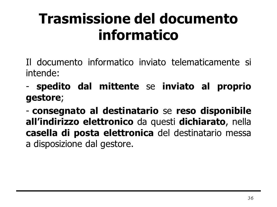 36 Trasmissione del documento informatico Il documento informatico inviato telematicamente si intende: - spedito dal mittente se inviato al proprio ge