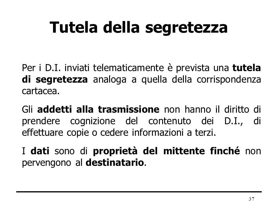 37 Tutela della segretezza Per i D.I. inviati telematicamente è prevista una tutela di segretezza analoga a quella della corrispondenza cartacea. Gli