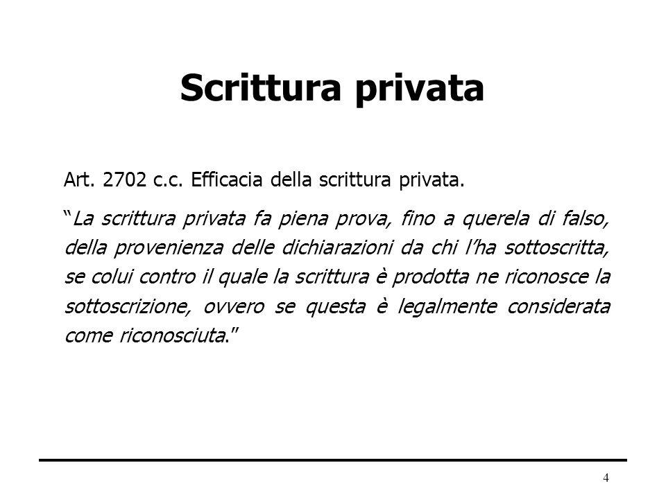 4 Scrittura privata Art. 2702 c.c. Efficacia della scrittura privata. La scrittura privata fa piena prova, fino a querela di falso, della provenienza