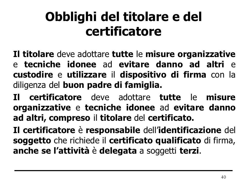 40 Obblighi del titolare e del certificatore Il titolare deve adottare tutte le misure organizzative e tecniche idonee ad evitare danno ad altri e cus