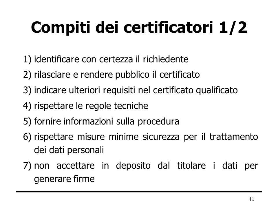 41 Compiti dei certificatori 1/2 1)identificare con certezza il richiedente 2)rilasciare e rendere pubblico il certificato 3)indicare ulteriori requis