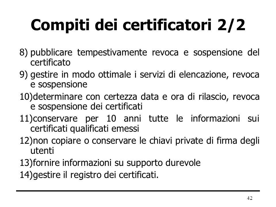 42 Compiti dei certificatori 2/2 8)pubblicare tempestivamente revoca e sospensione del certificato 9)gestire in modo ottimale i servizi di elencazione