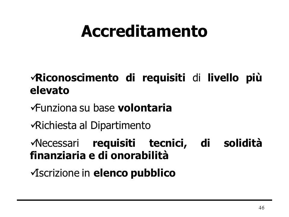 46 Accreditamento Riconoscimento di requisiti di livello più elevato Funziona su base volontaria Richiesta al Dipartimento Necessari requisiti tecnici
