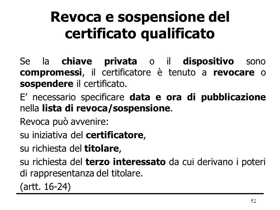 52 Revoca e sospensione del certificato qualificato Se la chiave privata o il dispositivo sono compromessi, il certificatore è tenuto a revocare o sos