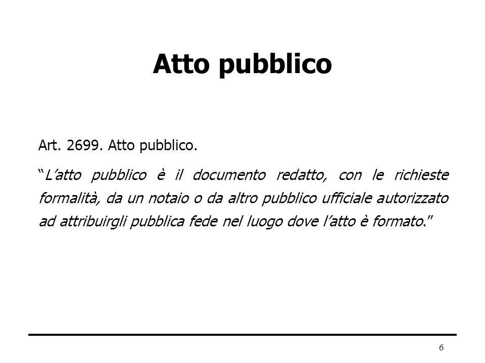 6 Atto pubblico Art. 2699. Atto pubblico. Latto pubblico è il documento redatto, con le richieste formalità, da un notaio o da altro pubblico ufficial