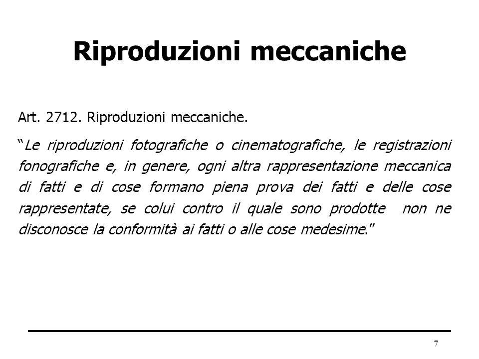 7 Riproduzioni meccaniche Art. 2712. Riproduzioni meccaniche. Le riproduzioni fotografiche o cinematografiche, le registrazioni fonografiche e, in gen