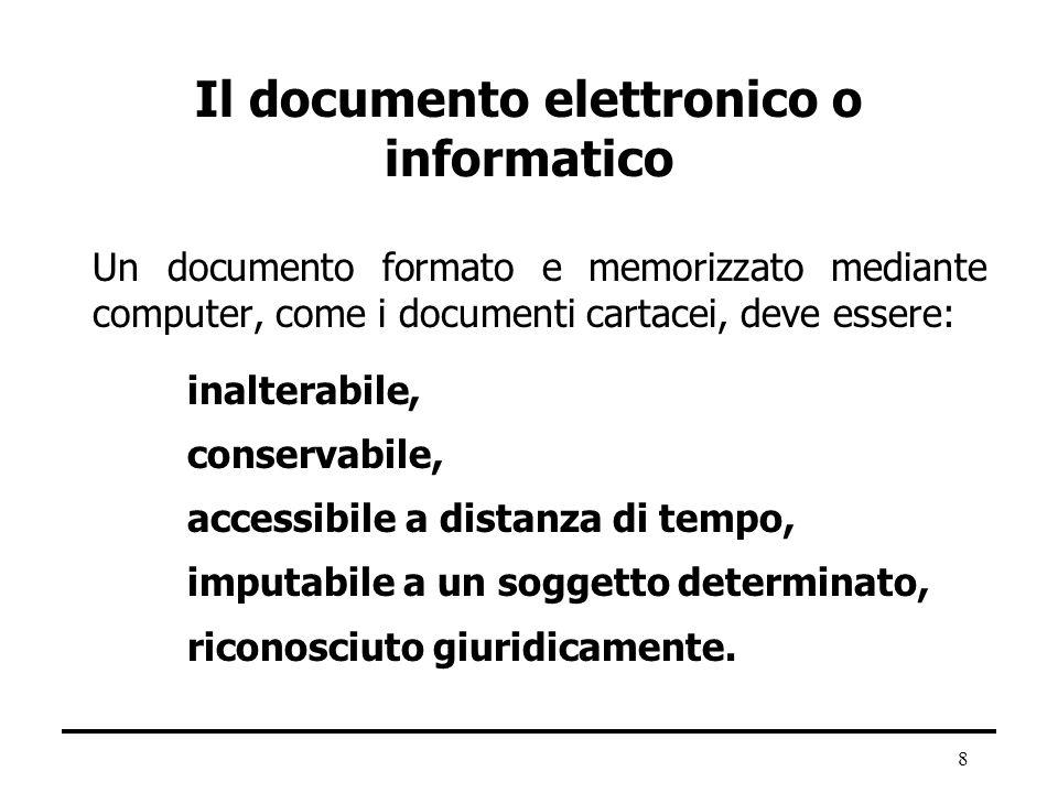 8 Il documento elettronico o informatico Un documento formato e memorizzato mediante computer, come i documenti cartacei, deve essere: inalterabile, c