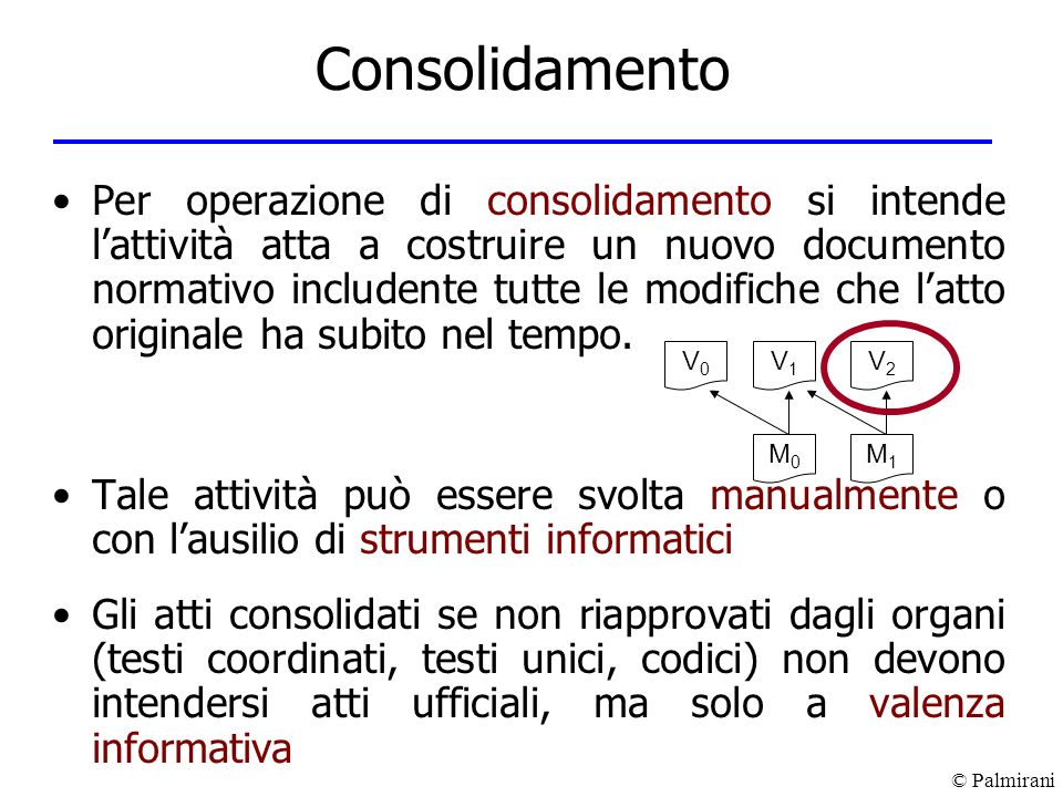 © Palmirani Consolidamento Per operazione di consolidamento si intende lattività atta a costruire un nuovo documento normativo includente tutte le mod