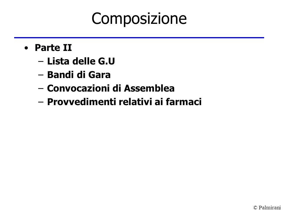 © Palmirani Composizione Parte II –Lista delle G.U –Bandi di Gara –Convocazioni di Assemblea –Provvedimenti relativi ai farmaci