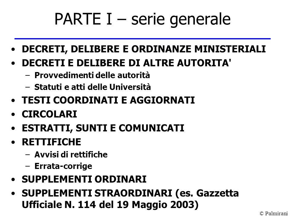 © Palmirani PARTE I – serie generale DECRETI, DELIBERE E ORDINANZE MINISTERIALI DECRETI E DELIBERE DI ALTRE AUTORITA' –Provvedimenti delle autorità –S