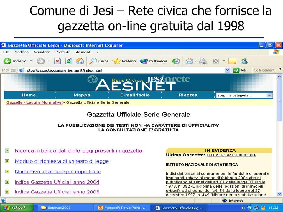 Comune di Jesi – Rete civica che fornisce la gazzetta on-line gratuita dal 1998