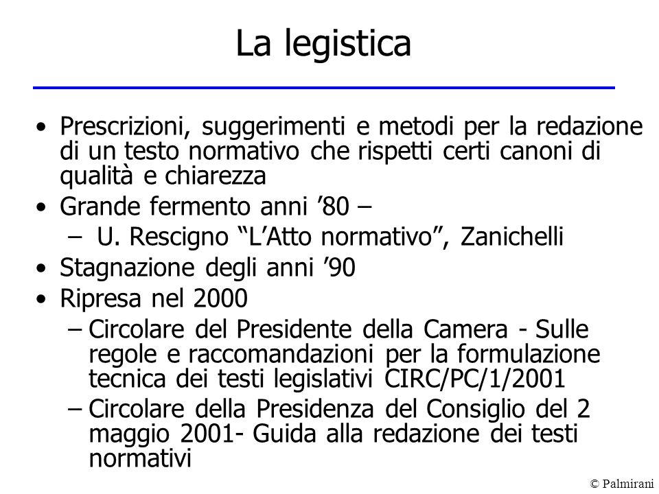 © Palmirani La legistica Prescrizioni, suggerimenti e metodi per la redazione di un testo normativo che rispetti certi canoni di qualità e chiarezza G