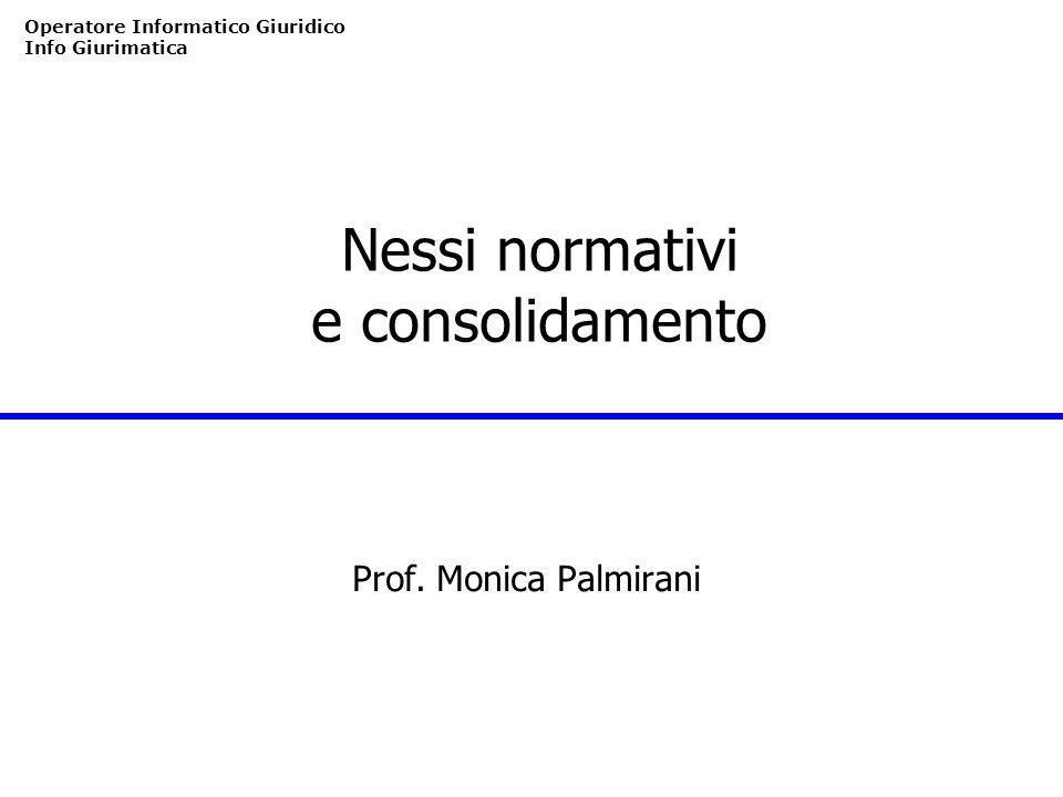 Operatore Informatico Giuridico Info Giurimatica Nessi normativi e consolidamento Prof. Monica Palmirani