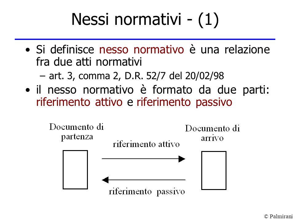 © Palmirani Nessi normativi - (1) Si definisce nesso normativo è una relazione fra due atti normativi –art. 3, comma 2, D.R. 52/7 del 20/02/98 il ness