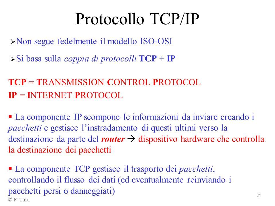 21 Protocollo TCP/IP © F. Tura TCP = TRANSMISSION CONTROL PROTOCOL Non segue fedelmente il modello ISO-OSI IP = INTERNET PROTOCOL Si basa sulla coppia