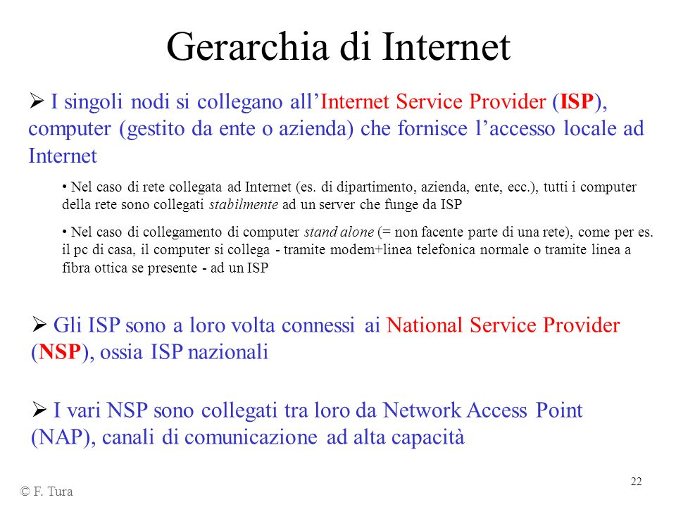 22 Gerarchia di Internet © F. Tura I singoli nodi si collegano allInternet Service Provider (ISP), computer (gestito da ente o azienda) che fornisce l
