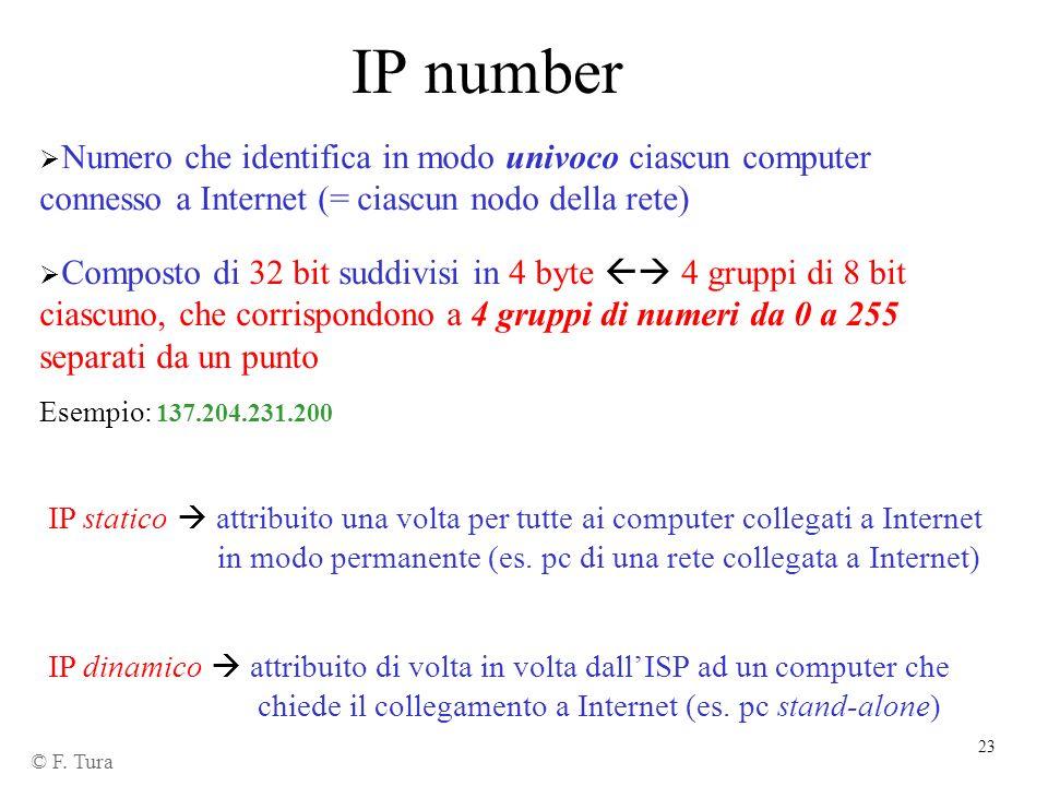 23 IP number Numero che identifica in modo univoco ciascun computer connesso a Internet (= ciascun nodo della rete) Composto di 32 bit suddivisi in 4