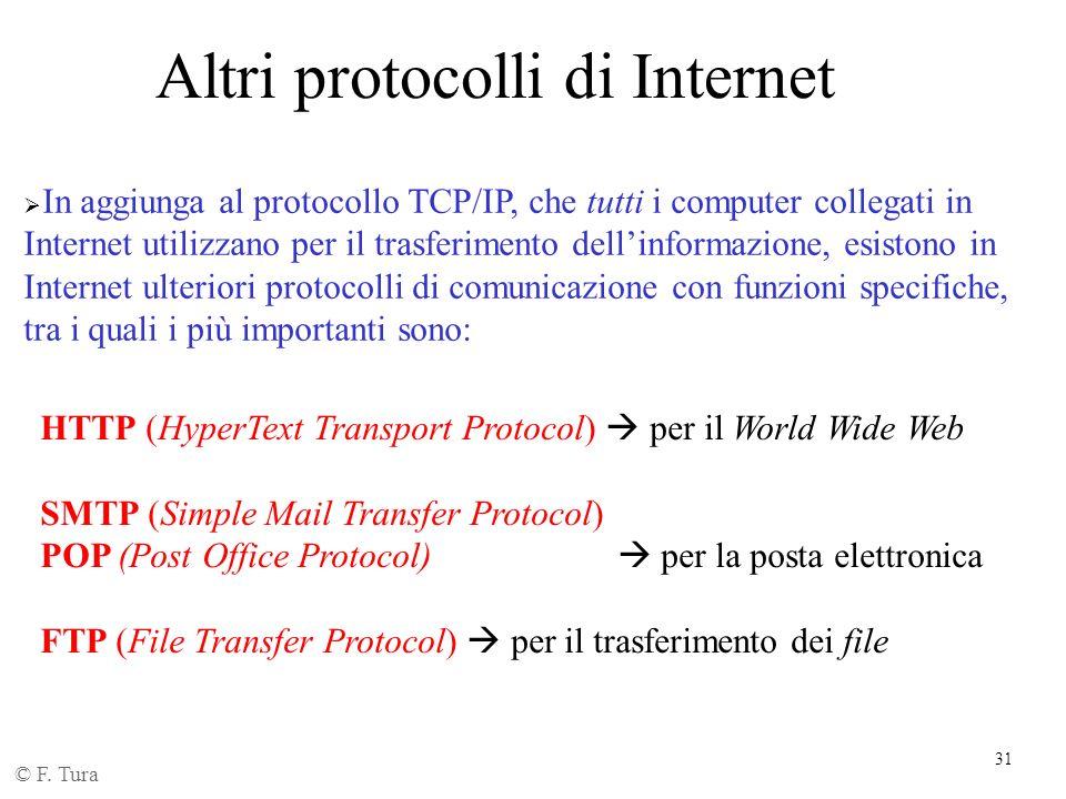 31 Altri protocolli di Internet In aggiunga al protocollo TCP/IP, che tutti i computer collegati in Internet utilizzano per il trasferimento dellinfor