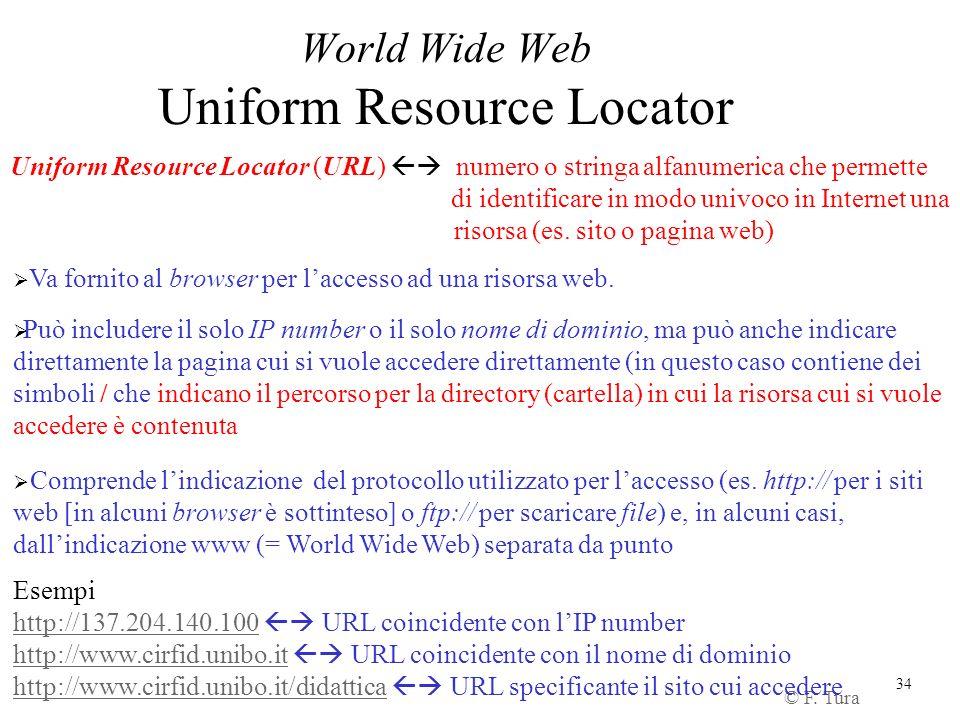 34 World Wide Web Uniform Resource Locator Uniform Resource Locator (URL) numero o stringa alfanumerica che permette di identificare in modo univoco i