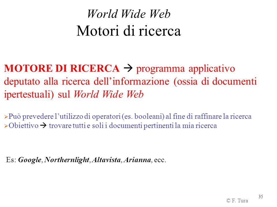 35 World Wide Web Motori di ricerca © F. Tura MOTORE DI RICERCA programma applicativo deputato alla ricerca dellinformazione (ossia di documenti ipert