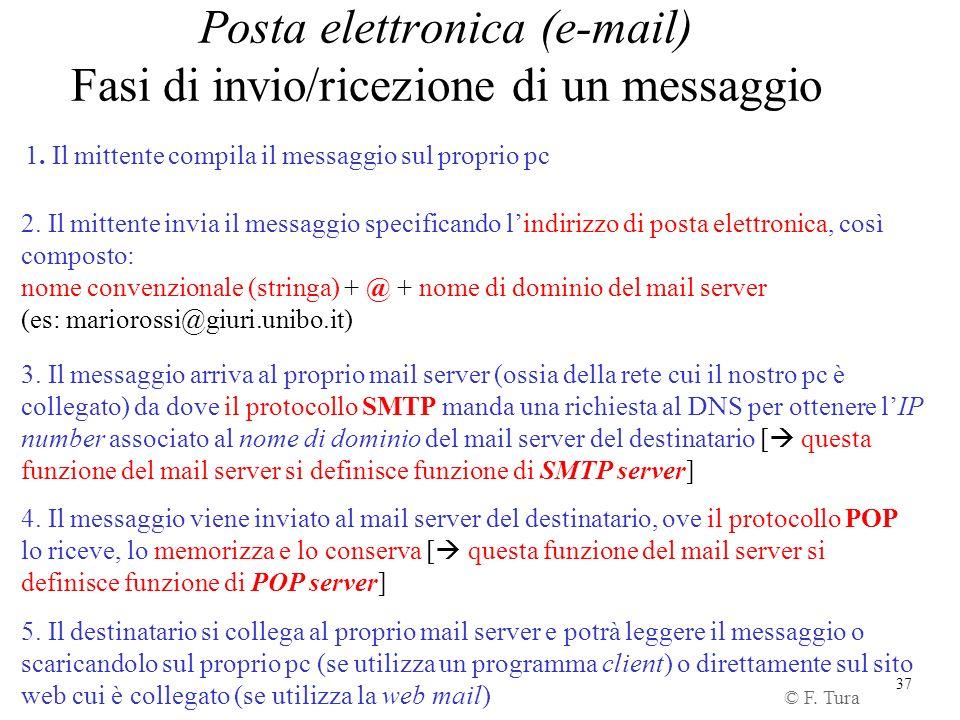 37 Posta elettronica (e-mail) Fasi di invio/ricezione di un messaggio 1. Il mittente compila il messaggio sul proprio pc 2. Il mittente invia il messa