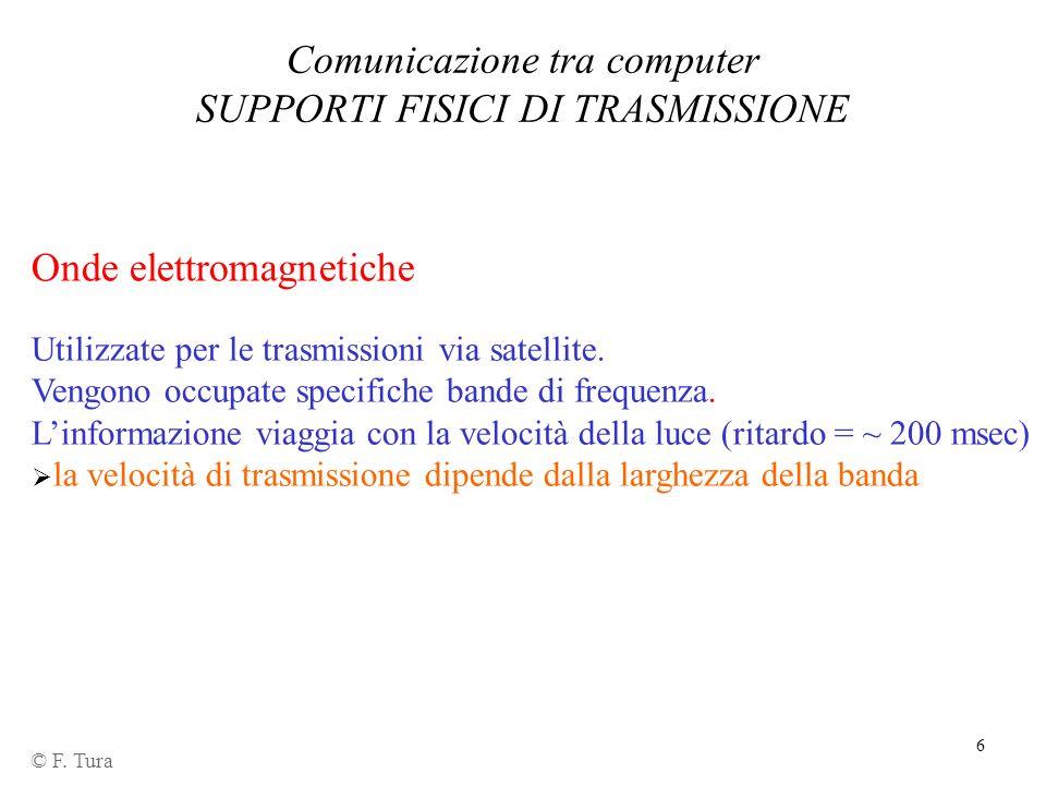6 © F. Tura Onde elettromagnetiche Comunicazione tra computer SUPPORTI FISICI DI TRASMISSIONE Utilizzate per le trasmissioni via satellite. Vengono oc
