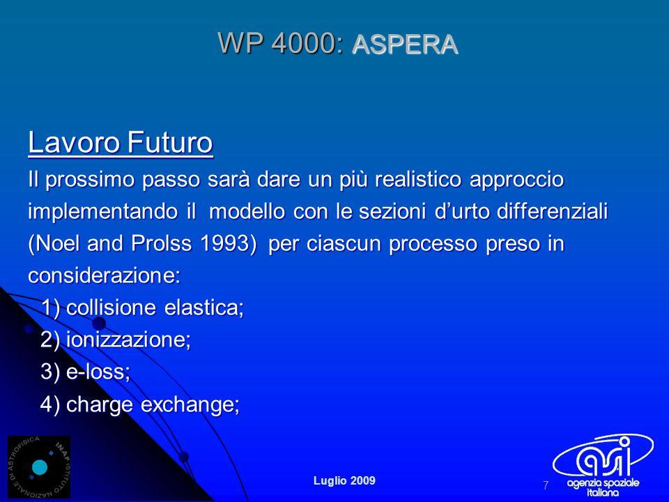 WP 4000: ASPERA Lavoro Futuro Il prossimo passo sarà dare un più realistico approccio implementando il modello con le sezioni durto differenziali (Noel and Prolss 1993) per ciascun processo preso in considerazione: 1) collisione elastica; 1) collisione elastica; 2) ionizzazione; 2) ionizzazione; 3) e-loss; 3) e-loss; 4) charge exchange; 4) charge exchange; 7 Luglio 2009