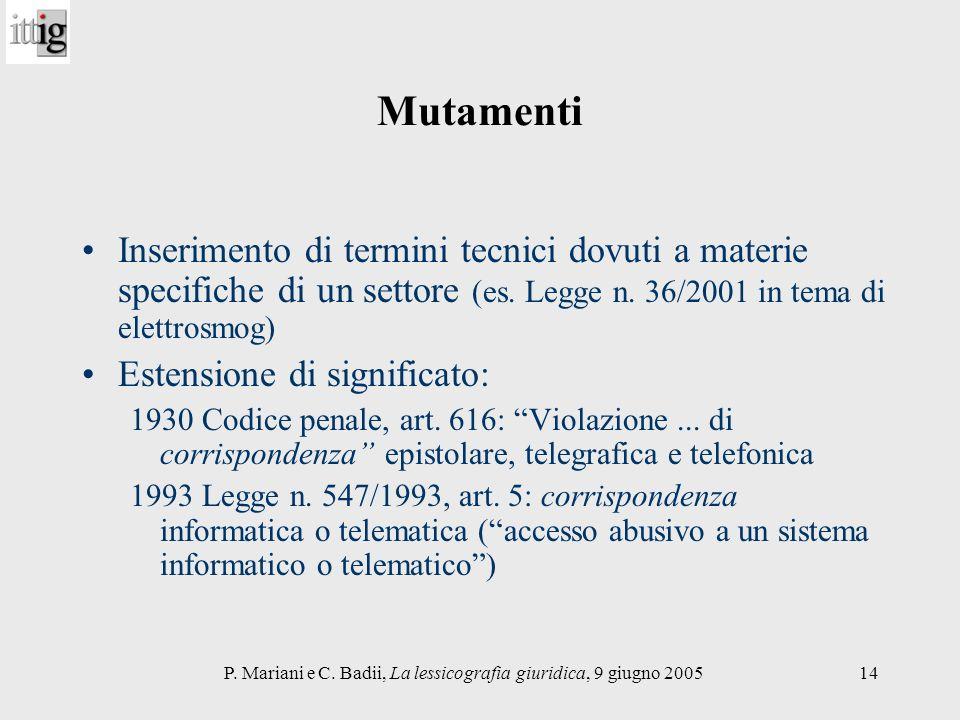 P. Mariani e C. Badii, La lessicografia giuridica, 9 giugno 200514 Mutamenti Inserimento di termini tecnici dovuti a materie specifiche di un settore