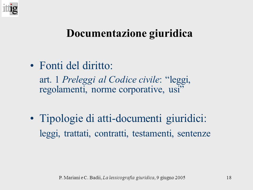 P. Mariani e C. Badii, La lessicografia giuridica, 9 giugno 200518 Documentazione giuridica Fonti del diritto: art. 1 Preleggi al Codice civile: leggi